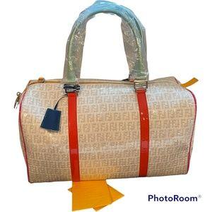 Fendi Ivory Grey Sequin Multicolour Patent Detail Bag (New)